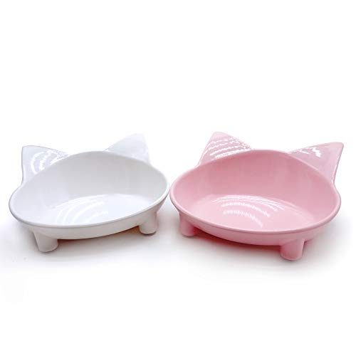 Slanted Large Size Color Pink Persian Cat Feeding Bowl
